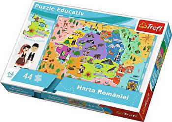 Puzzle educational - Harta romaniei , 44 piese