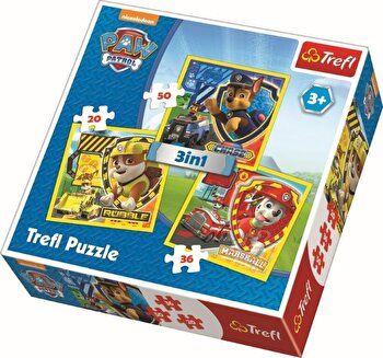 Puzzle 3 in 1 - Paw Patrol, 106 piese