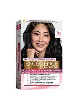 Vopsea de par permanenta L'Oréal Excellence, 100 Negru Profund Natural, 182 ml imagine produs
