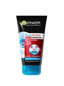 Gel de curatare pentru fata 3 in 1 Garnier Pure Active Intensive Charcoal pentru ten gras cu imperfectiuni, 150 ml imagine produs