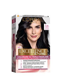 Vopsea de par permanenta L'Oréal Excellence, 1.01 Negru Pur Intens, 182 ml imagine produs