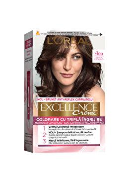 Vopsea de par permanenta L'Oréal Excellence, 400 Saten Inchid Natural, 182 ml imagine produs