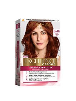 Vopsea de par permanenta L'Oréal Excellence, 6.46 Aramiu Roscat, 182 ml imagine produs