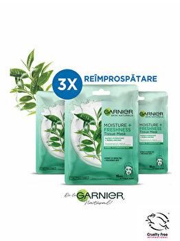 Set Garnier Skin Naturals (3 x Masca servetel Moisture+ cu ceai verde pentru reimprospatare, 32 g) poza