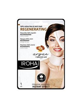 Masca-servetel regeneranta pentru fata si gat Iroha Cotton Cotton Regenerating Argan + Hyaluronic Acid, 1 buc. poza