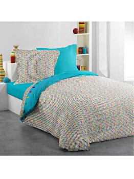 Lenjerie de pat, Dormisete, RIU Twist Aquarius, 1 persoana, renforce imprimata, bumbac, 160 x 230 cm, Albastru elefant