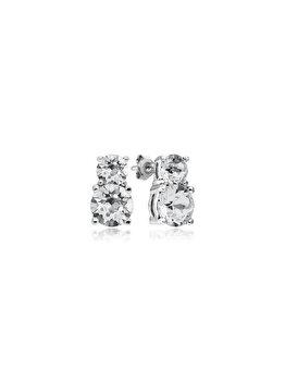 Cercei e-Crystal din Argint 925 placati cu rodiu cu cristale Swarovski Xirius 6 Crystal Clear CXIS6843 elefant imagine 2021
