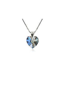 Colier cu pandantiv e-Crystal din Argint 925 placat cu rodiu cu cristale Swarovski Heart Bermuda Blue COH1022 elefant imagine 2021