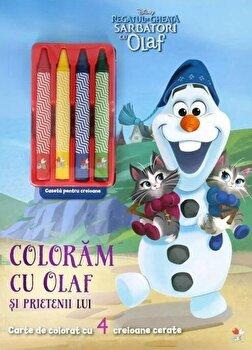 Disney. Regatul de gheata. Sarbatori cu Olaf. Coloram cu Olaf si prietenii lui. Contine 4 creioane cerate/*** imagine elefant.ro 2021-2022