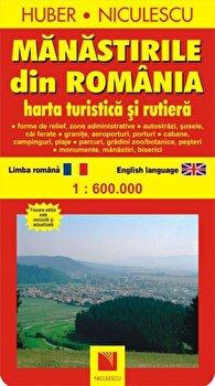 Manastirile din Romania. Harta turistica si rutiera/Huber Kartographie imagine elefant.ro