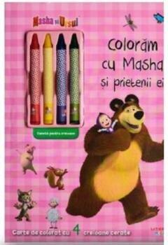 Coloram cu Masha si prietenii ei - Carte de colorat cu 4 creioane cerate/***