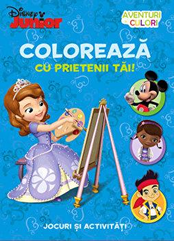 Coloreaza cu prietenii tai! Aventuri in culori. Intoarce cartea, 2 in 1/Disney imagine