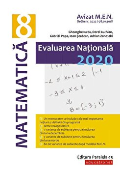 Evaluare Nationala 2020. Clasa a VIII-a. Matematica/Adrian Zanoschi, Ioan Serdean