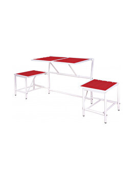 Banca modulara ce se transforma in masa cu scaune, pentru gradina/balcon/camping, metal/lemn, rosu, BL066 imagine