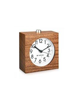 """<span class=""""title-long"""">Ceas cu alarma analogic din lemn Snooze Retro, Navaris, 43906, lemn, Maro</span>"""