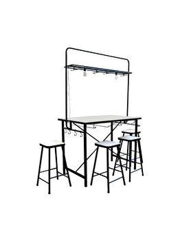 Masa dreptunghiluara cu 4 scaune, metal si MDF, masa de bar, terasa, gradina, cu accesorii bar,suport pahare, SID, maro / negru imagine