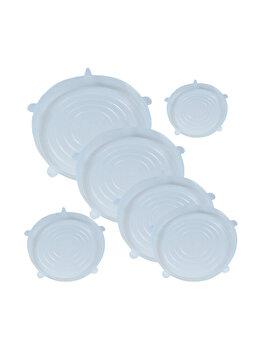 Capace flexibile silicon, set de 6, extensibile, 6 x capac silicon flexibil pentru vase/recipiente, inlocuitor folie strech alimentara, capace elastice castron/bol, capace flexibile, Quasar