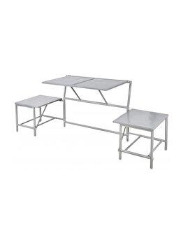 Banca modulara ce se transforma in masa cu scaune, pentru gradina/balcon/camping, metal, gri, BL053