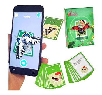 Joc realitate virtuala pentru telefon/tableta, imagini 3D (vezi video in descriere), cartonase de invatare a insectelor in engleza, set de 48 cartonase cu insecte si descrierea lor, joc de invatare si atentie pentru copii, AR animals