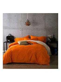 """Lenjerie de pat Bumbac Ranforce Lux, Model """"Orange Uni"""", 2 persoane, 70X70, 200X200, 4 piese"""