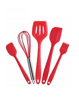 Set 5 ustensile bucatarie, Quasar&Co., spatula mare, paleta, tel, pensula, spatula mica, silicon, rosu