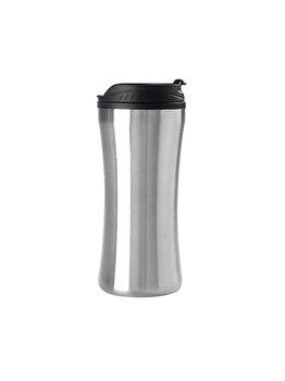Cana izoterma pentru bauturi calde/reci, cana voiaj/calatorii, 450 ml, Hovac, argintiu-negru imagine