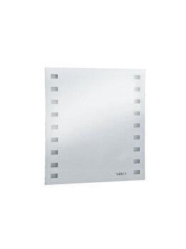 Oglinda de baie cu ceas, iluminare cu 96 leduri, 60 x 50 cm, sticla, argintiu imagine 2021