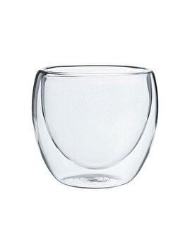 Pahar din sticla cu pereti dubli, Quasar&Co., 250 ml, pahar termic, design modern, pahar termorezistent, h 9 cm, d 8 cm imagine 2021