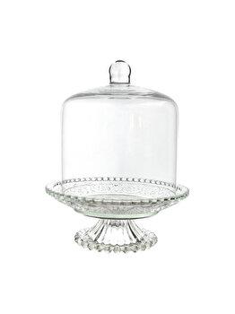 Platou tip clopot pentru prajituri/bomboane, Cosy&Trendy, sticla, picior sticla cu capac cupola, d 16 cm, h 20 cm, transparent imagine