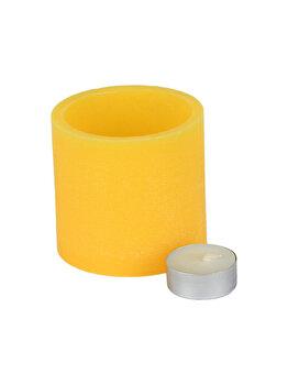Suport din ceara pentru lumanare pastila (inclusa), Muller, lucrat manual, d 8,5 cm, h 8 cm, vas de ceara cu lumanare pastila, bol de ceara, galben imagine
