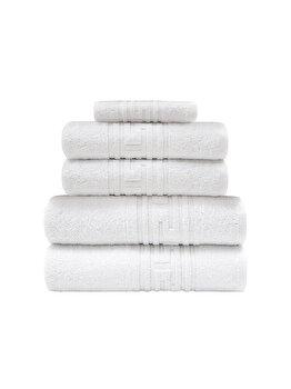 Set 5 prosoape hoteliere Quasar & Co., 2 x prosop fata 50 x 90 cm, 2 x prosop corp corp 70 x 140 cm, 1 x prosop picioare 50 x 70 cm, 100% bumbac, alb imagine 2021