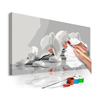 Pictura pe numere - Orchid (White & Grey) - 80 x 40 cm