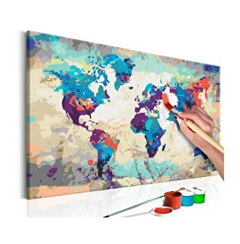 Pictura pe numere - World Map (Blue & Red) - 60 x 40 cm