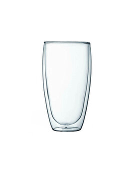 Pahar din sticla cu pereti dubli, 450 ml, Quasar, termorezistent design modern, diametru 8 x h14 cm