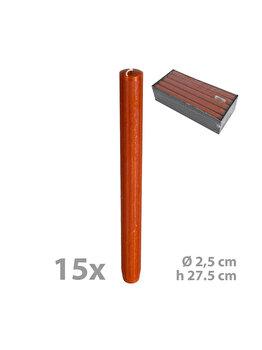 Set 15 lumanari pentru sfesnic, diam. 2,5 cm, h 27.5 cm, coniac, C1108
