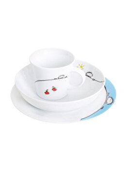Set pentru servire masa, pentru copii, cana 220 ml, farfurie adanca d18 cm, farfurie intinsa, d21.5 cm, portelan, Kahla, alb
