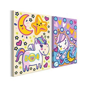 Pictura pe numere pentru copii - Unicorns (Good Morning & Good Night) - 33 x 23 cm