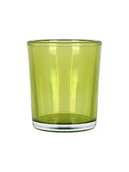 Set 4 suporturi de lumanari tip pastila, Rasteli, sticla, diam. 5.5 cm, h 6.5 cm, verde transparent, art. 5907 imagine