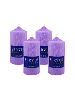 Set 4 Lumanari Parfumate Lavanda, cilindru 13 cm imagine