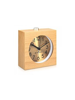 """<span class=""""title-long"""">Ceas cu alarma analogic din lemn Snooze Retro, Navaris, 46229.24, lemn, Maro</span>"""