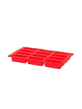 Forma de prajituri, fursecuri, 12 forme dreptunghiulare, silicon, 29.8 x 17 cm, rosu imagine 2021