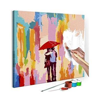 Pictura pe numere - Couple Under An Umbrella (Pink Background) - 45 x 45 cm