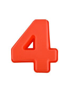 Forma de copt din silicon cifra 4, termorezistenta de la -40 la +230 grade C, h 23.5, mare, forma de tort/prajitura in forma cifrei 4, tava cifra 4, tava copt, tava silicon, rosu, Quasar&Co.