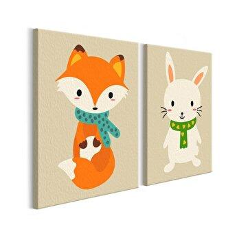 Pictura pe numere pentru copii - Fox & Bunny - 33 x 23 cm