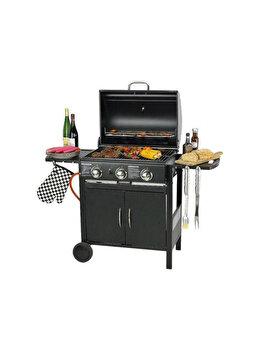 Gratar cu 3 arzatoare separate si termometru, Flame Master, grill, barbeque exterior, alimentare gaz, 9 kw, 130 x 100 x 55, suprafata de gatire 59 x 42 cm, negru imagine 2021