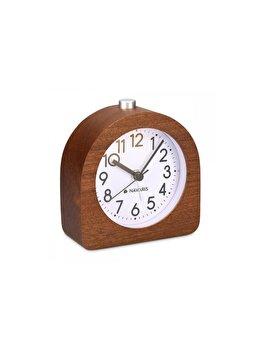 """<span class=""""title-long"""">Ceas cu alarma analogic din lemn Snooze Retro, Navaris, 45427.18, lemn, Maro</span>"""