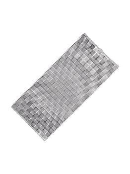 Covor bumbac Relaxdays, lucrat manual, strat anti-alunecare, grosime 1 cm, alb-negru, 80 x 200 cm, model geometric imagine
