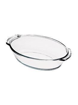 Vas de sticla termorezistenta, oval, 4 litri, tava yena, sticla groasa, 37 x 23 cm, h 10 cm, compatibil cuptor, congelator, microunde, masina de spalat vase
