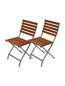 Set 2 scaune Quasar&Co., pentru terasa, gradina, balcon, lemn cu cadru de aluminiu, pliabile, rezistente, usoare, 52 x 40 x 82 cm imagine