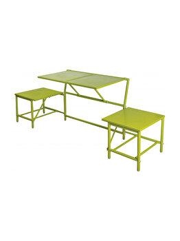 Banca modulara ce se transforma in masa cu scaune, pentru gradina/balcon/camping, metal, verde spring, BL054 imagine